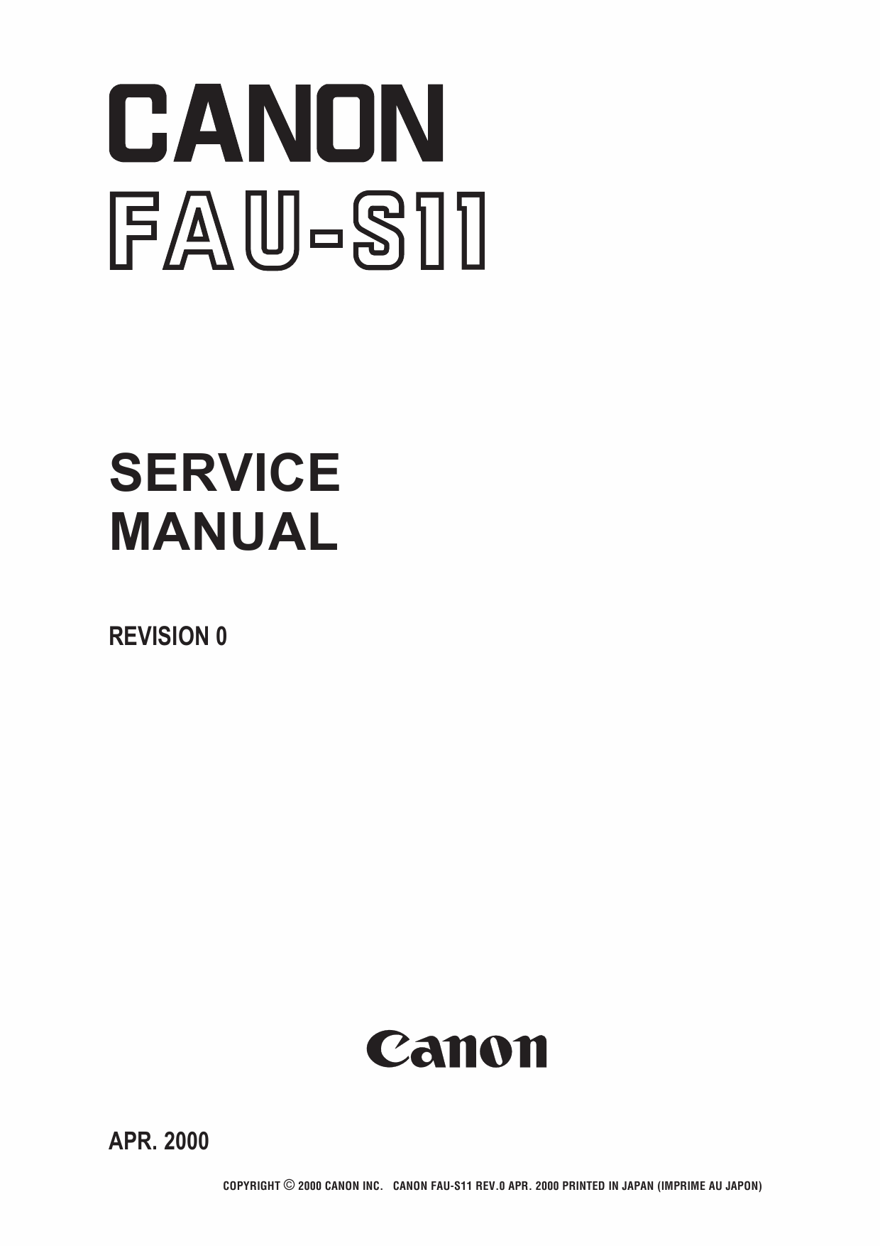 Canon Options FAU-S11 Film-Adapter-Unit-Service Manual
